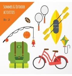 Summer outdoor activities sport equipment flat vector image vector image