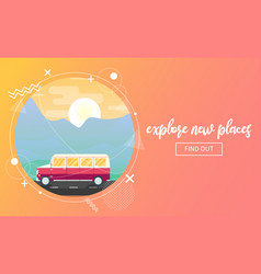 travel banner with a van vector image