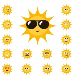 cartoon sun set with funny smiley faces vector image