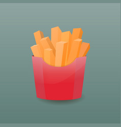 french fries in paper box vector image vector image