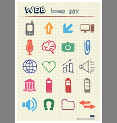 Internet and media icons set vector image