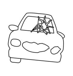 line crash car and dangerous automobile accident vector image