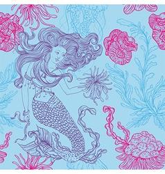 mermaid marine plants corals jellyfish vector image vector image