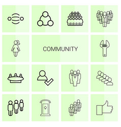 14 community icons vector image
