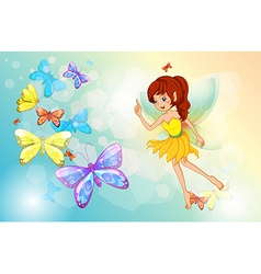 A fairy with colorful butterflies vector