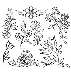 Abstract black and white floral set vector