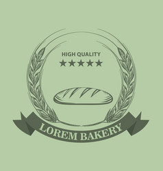 bakery logo with fresh bread wheat ribbon and vector image