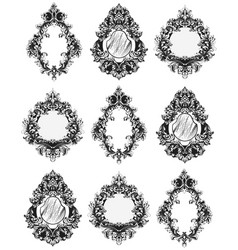 baroque mirror frames french imperial vector image