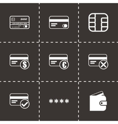 black credit card eyes icons set vector image