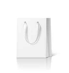 blank white paper luxury gift bag with silk handle vector image