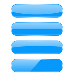 blue glass 3d buttons vector image