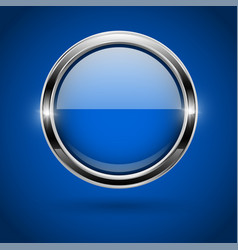 Blue round button with metal frame on blue vector