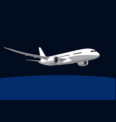 boeing 787 dreamliner night flight vector image