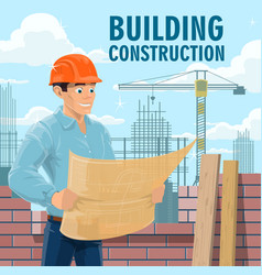 building construction engineer or architect vector image