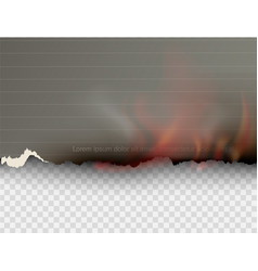 burning templates torn paper with fire vector image