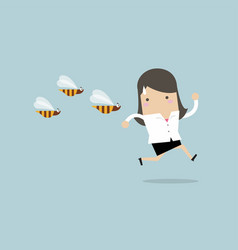 Businesswoman running away from dangerous insects vector