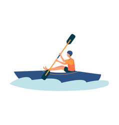 Cartoon man kayaking in river in blue kayak vector