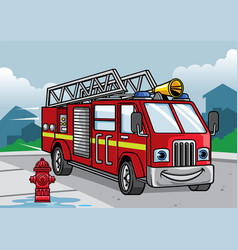 cartoon of firefighter truck vector image