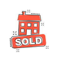 cartoon sold house icon in comic style sold sign vector image