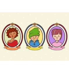 children portrait in a frame vector image