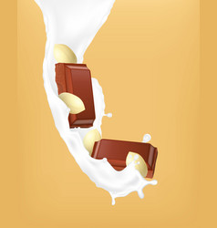 Chocolate pieces and milk vector