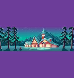 christmas night in mountain city or canada xmas vector image