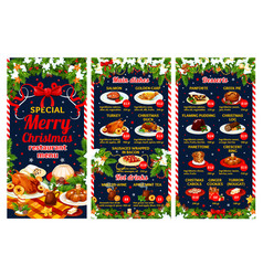 Christmas restaurant menu of winter holiday dinner vector