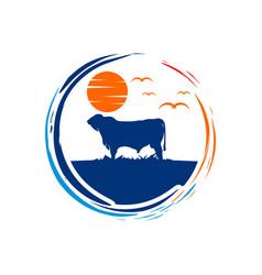 circular logo cattle farms vector image