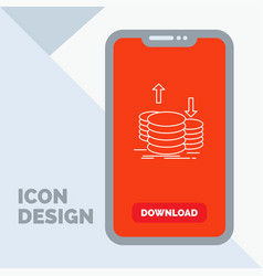 coins finance capital gold income line icon in vector image