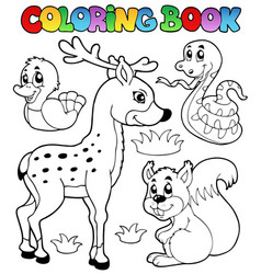 Coloring book with forest animals 2 vector