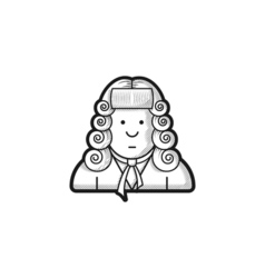 Contour icon judge in a wig and gown vector