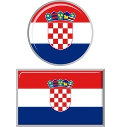 Croatian round and square icon flag vector