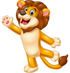 Cute lion waving hand vector