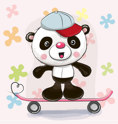 Cute panda with skateboard vector