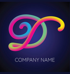 d letter logo icon blending color vector image