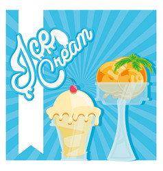 delicious ice cream in cups vector image