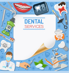 Dental services banner and frame vector