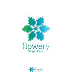 elegant flower logo icon design with green blue vector image