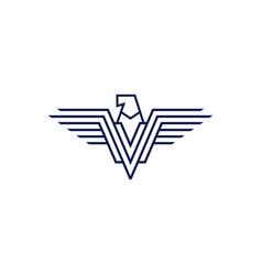 falcon eagle logo icon line outline vector image