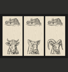 Farm animals set pig cow and goat heads isolated vector