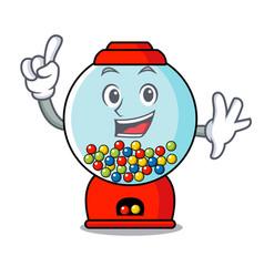 Finger gumball machine mascot cartoon vector
