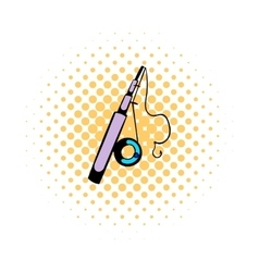 Fishing rod icon comics style vector image
