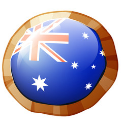 Flag of australia on round badge vector