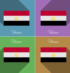 Flags Egypt Set of colors flat design and long vector image vector image