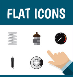 flat icon auto set of absorber crankshaft vector image
