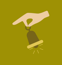 Flat icon on stylish background hand bell vector