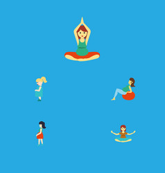 Flat icon pregnancy set of yoga meditation vector
