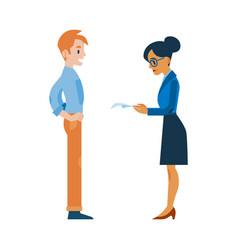 Flat woman reading applicant man resume vector
