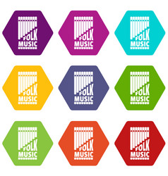 flute pan icons set 9 vector image