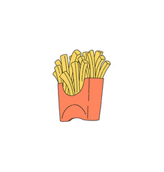 french fries in red carton icon in sketch style vector image